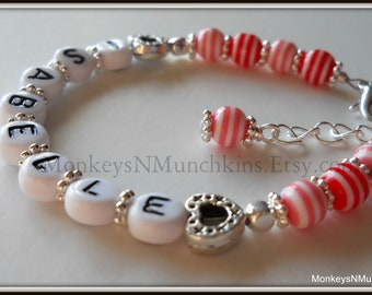 Candy Hearts Bracelet Personalized Name B051
