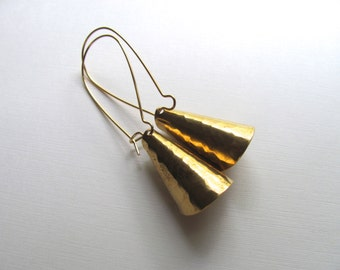 LAST PAIR Hammered gold drop earrings, brass vintage triangle cones on long 14k gold plate fixtures, geometric jewelry, dangle earrings