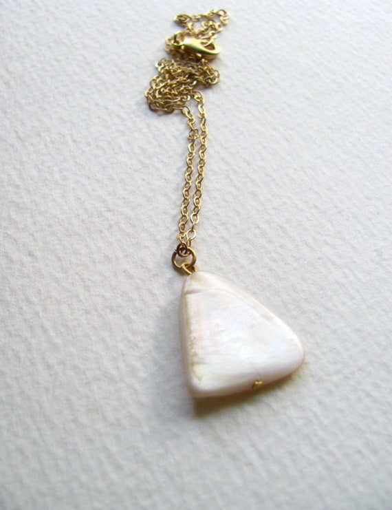 Mother of pearl triangle pendant necklace on delicate 14k gold plated chain