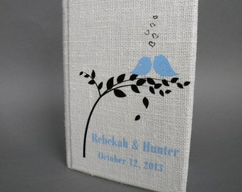 Wedding Guest Book / Wedding Book / Rustic Wedding Guest Book /  Linen Guest Book Size 6.1 inches X 8.3 inches Light blue birds black leaves