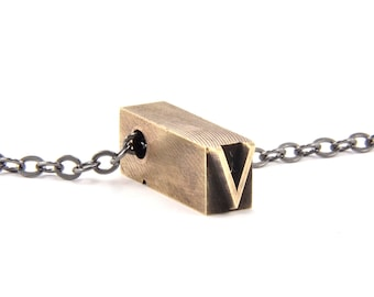 Letter V  Letterpress Necklace - Brass Initial Personalized - Other Letters Available GDJ