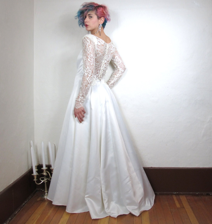80s Jessica McClintock Lace Low Back White Wedding Dress S