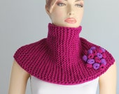 Ready to ship Hand knitted and Crocheted  Purple Violet   Scarf  - Neck Warmer