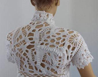 20% OFF Freeform Crochet Cotton Wedding Shrug - Bolero - Luxury - OOAK