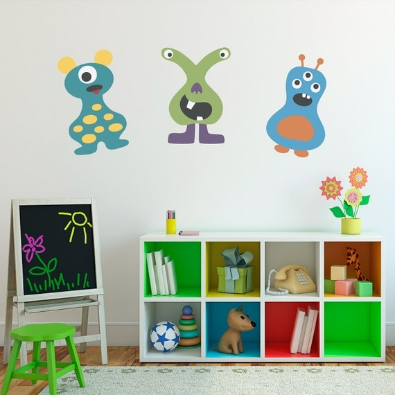 Monster Wall Decals Set of 3 Vinyl Wall Art - Children Wall Decals - Group 3