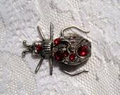 steampunk brooch pin beetle bug watch crystal