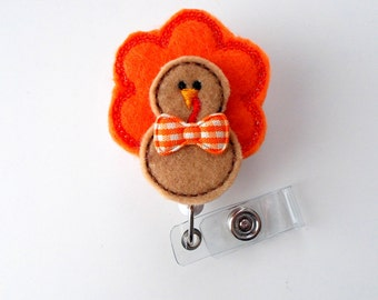 Tom the Turkey - Retractable ID Badge Reel - Name Badge Holder - Unique Badge Reel - Nurse Badge Holder - Nursing Badge Clip - Felt Badge