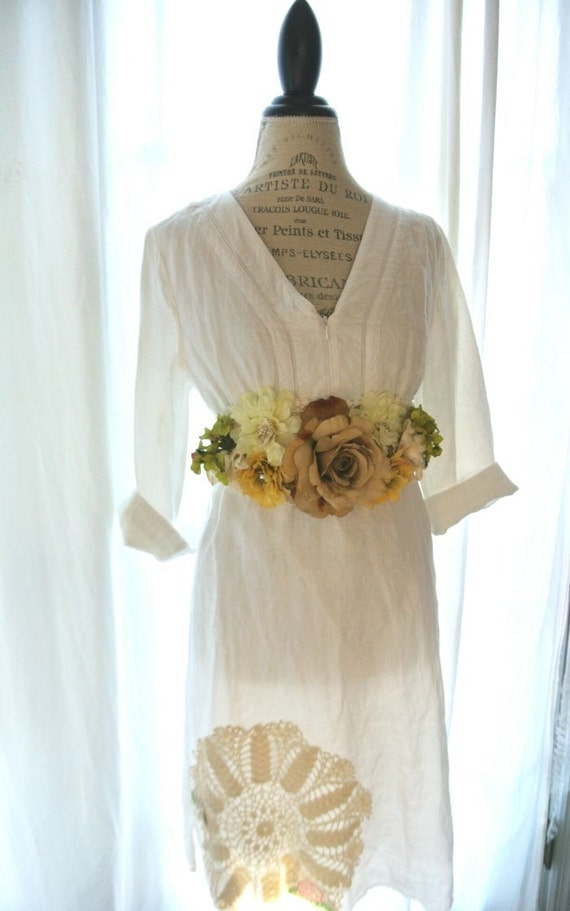 Flax Linen Dress Upcycled French Country Chic Clothing