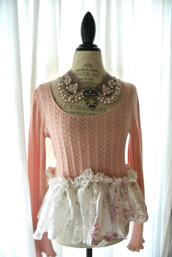 Womens Pink Sweater Shabby Chic Clothing Gypsy Cowgirl Glam