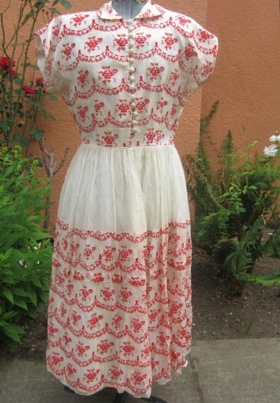 Vtg 50s White Chiffon w Red Velvet Flocked  Trompe L'oeil Roses and Ruffles Dress