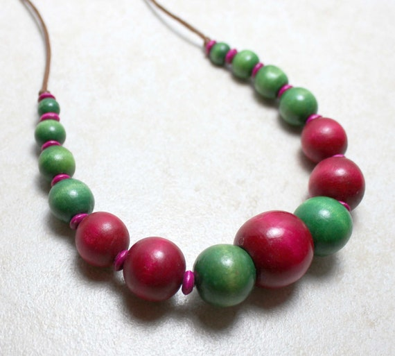 SALE Watermelon Nursing Necklace in Pink and Green Wood Breastfeeding Baby Wearing