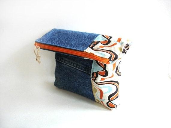 Fold over clutch recycled denim, color block orange tangerine, Autumn bag zipper top, denim clutch