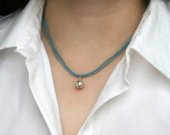 Sterling Silver Jingle Bell with Silk Cord Necklace (many colors for you to choose)