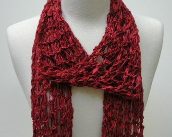 Cotton Scarf- Hand Knit- Wine/ Deep Red