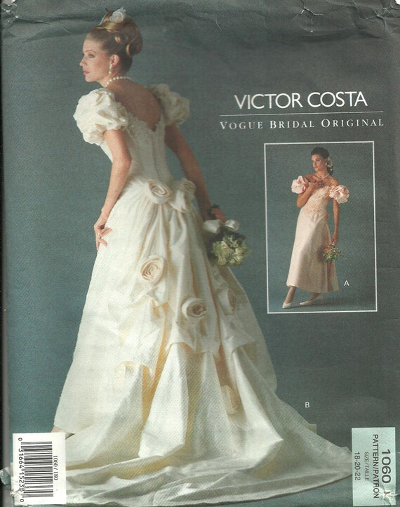 Vogue 1060 Bridal Original Sewing Pattern by Victor Costa Sizes 18 20 22