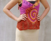 Hand crocheted Freeform Lace Top Boho Funky Vest Custom Order