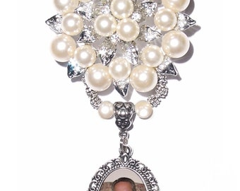 Diamonds & Pearls Memorial Photo Brooch Silver Crystal Gems Metal Tibetan Beads - FREE SHIPPING