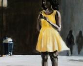 Yellow Dress Original Painting 14 x 18