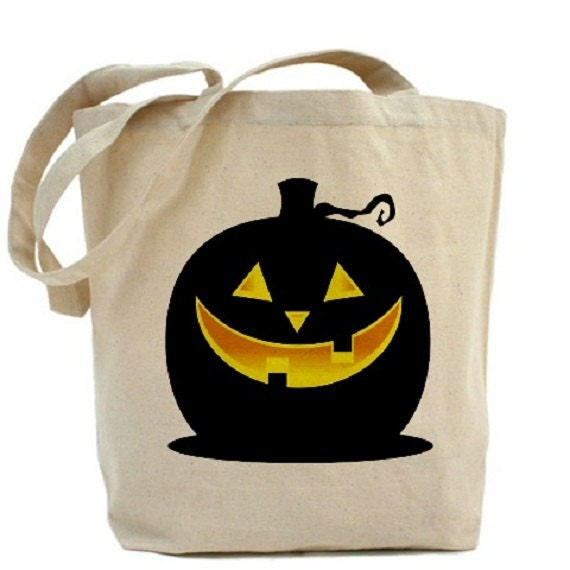 Halloween Tote - Cotton Canvas Tote Bag - Trick or Treat Bag