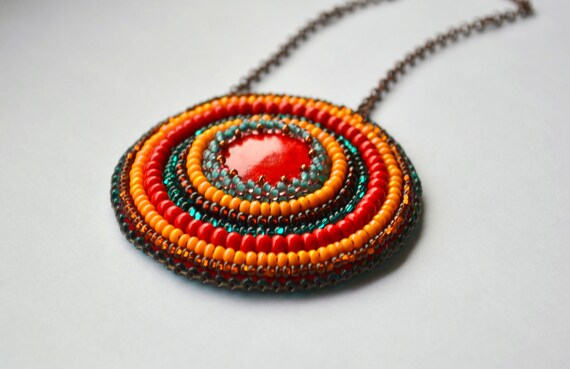 RESERVED FOR AMANDA Bright Hippie necklace Beaded chain necklace in red, turquoise and yellow