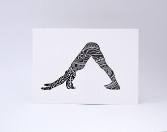 Letterpress Print - Downward Facing Dog - Black