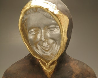 Cast Glass Face Sculpture, Bust of Laughter, Clear Woman's Head with Ceramic Gold Leaf Hooded Sweatshirt, Happy Wall Art