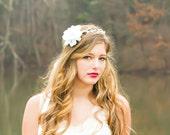 Bridal flower headpiece, bridal hair crown, white flower halo