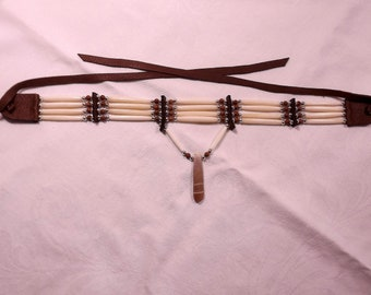 bone hairpipe choker, sea urchin spine, native style, brown and cream,white hair pipe, brown jaster stone beads, chocolate leather