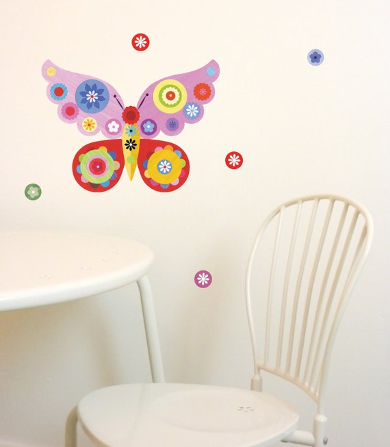 Butterfly Mini Wall Sticker Set (not vinyl) by Ellen Giggenbach Available in Pink or Blue