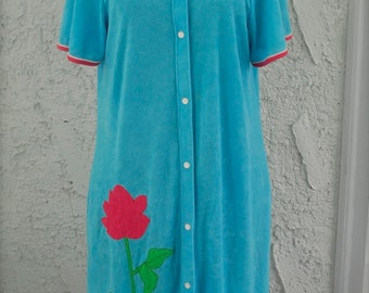 Vintage 1960s Lord and Taylor Terry Bright Blue Rose House Coat / Nighty / Cover Up - Medium