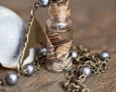 Undines' Elixir Necklace - Antiqued Brass with Gray Swarovski Pearls