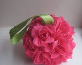 Mini Hot Pink/ Fuchsia Rose Pomander....You choose ribbon color..........READY TO SHIP..........