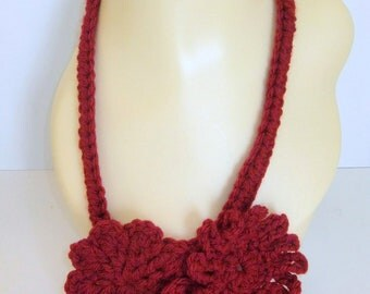 Red Flower Fashion Necklace, Choker, Handmade, Crochet, Women, Gift, Versatile, Accessory