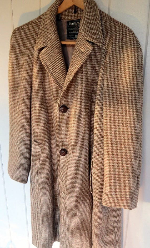 vintage 50s mens Harris Tweed long coat