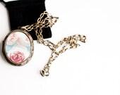 Woodland Locket - Large Locket Pink Roses with Blue  Art Locket - Gift for Women