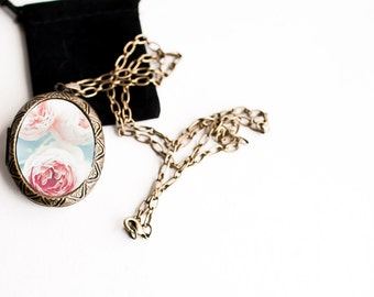 Woodland Locket - Large Locket Pink Roses with Blue  Art Locket - Gift for Women