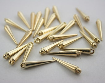 50 pcs. Gold Acrylic Spikes Charms Pendants Punk Rock Necklace Findings 24 mm. PD SG24 CH