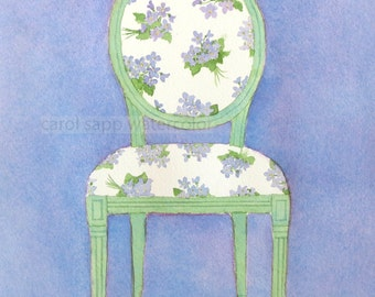 "watercolor french chair watercolor violet bouquets archival print of original painting 5"" x 7"""