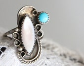 Vintage Native American Turquoise & Mother of Pearl Signed Sterling Silver ring Sz 6