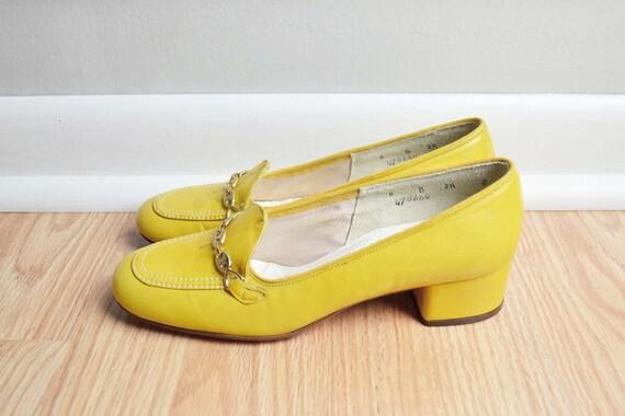 Shoes Pumps Loafers Yellow 60s Mad Men Gold Chain Mod Florsheim Vintage Size 6 N