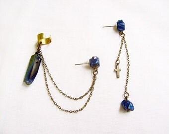 Ear Cuff Chain Earring, Pierced Ear Cuff Earring, Quartz Pyrite Drop Earring, Double Chain earcuff, Boho Earcuff Earring