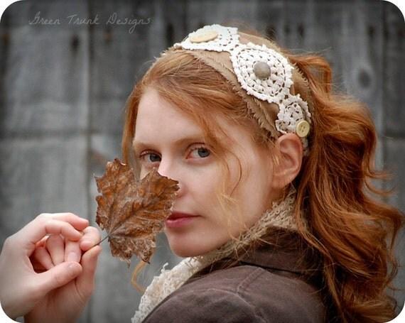 Rustic Lace Headband Head Wrap