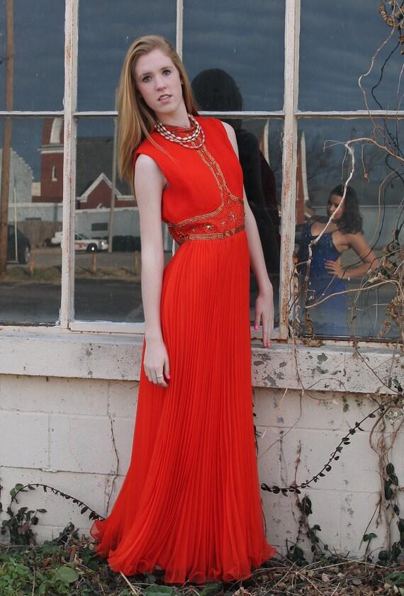 60s 70s Party Dress Evening Gown Beaded Maxi Sheer Chiffon Accordion Pleat Medium M Vintage Orange