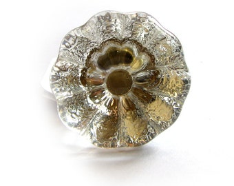 FREE SHIPPING Vintage Flower Glass Door Drawer Pull (Single Pull) (ET87) Clear