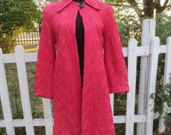 Vintage 1940's Woman's Evening Coat  in Peach Rayon-Elegant