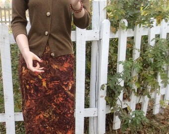 SEXY Vintage 1950's-1960's Pencil Skirt in Autumn Colors by Sweet Adeline