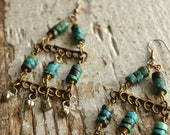 Turquoise Rustic House Earrings