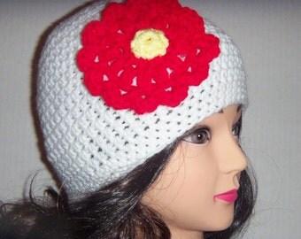 White Woman's Hat With Red Flower, Handmade Hat, Crochet Flower Hat