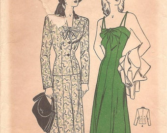 1940s Dress Pattern and Jacket - Butterick 4167 Vintage Pattern - Bust 32 Size 14 - Bow Trim and Princess Seams