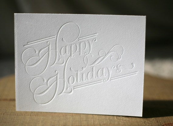 Letterpress Holiday Cards - Happy Holidays typography cards